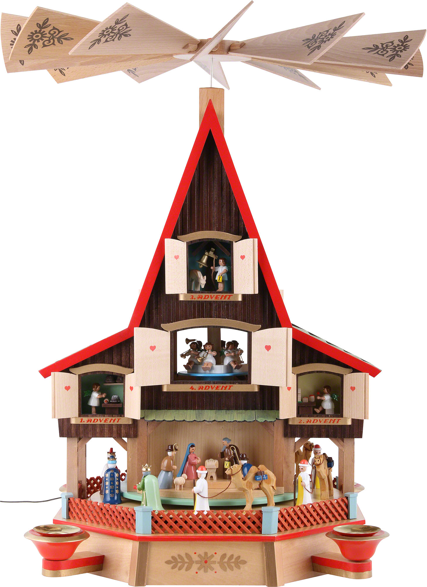 3 tier advent 39 s house nativity and windows 62cm 24in ch. Black Bedroom Furniture Sets. Home Design Ideas