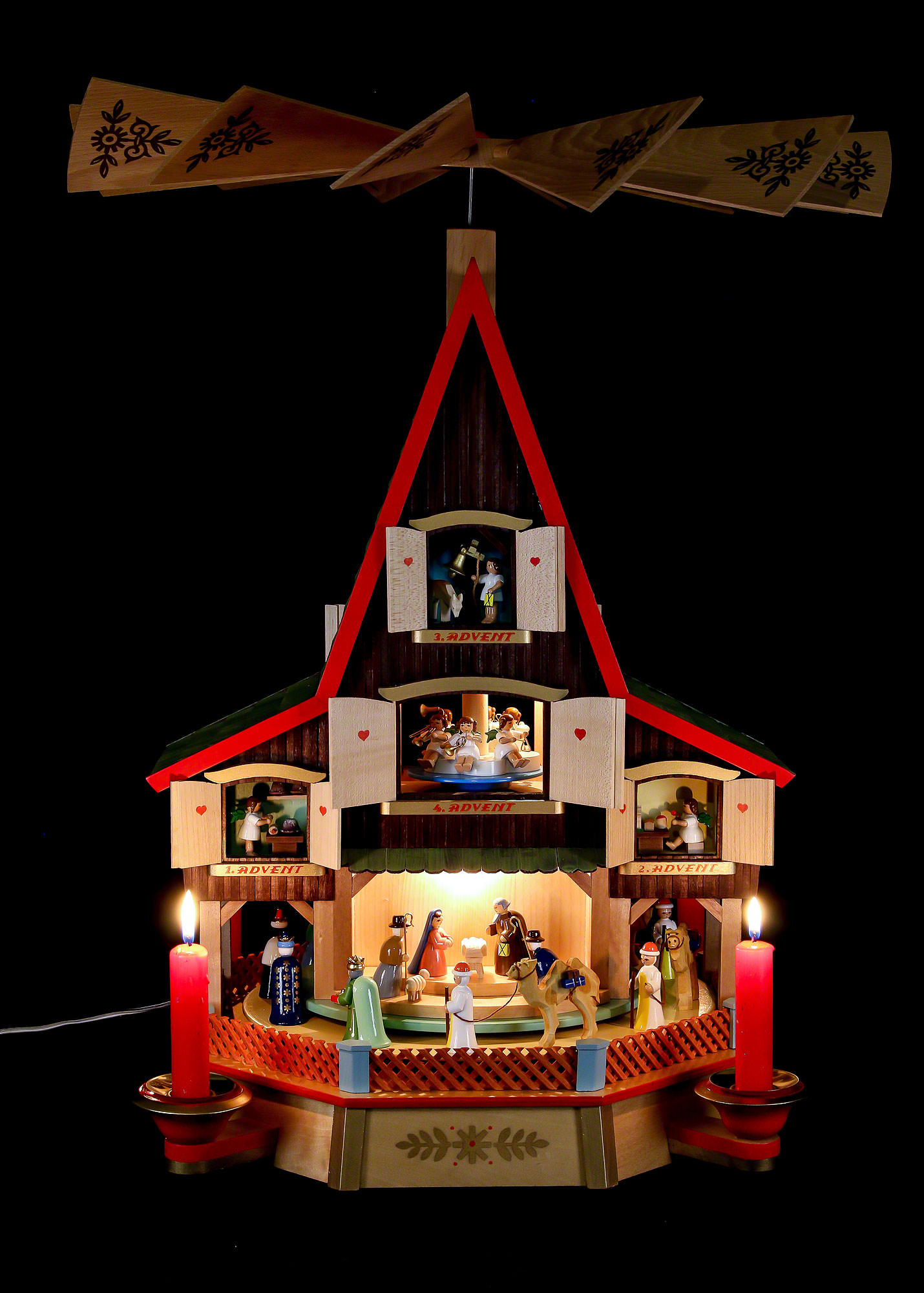 3 tier advent 39 s house nativity and windows 62 cm 24in by. Black Bedroom Furniture Sets. Home Design Ideas