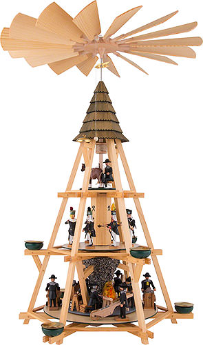 Image For 3-Tier Capstan Pyramid, Mining Scenery (70cm/27.5 inch) by Dregeno Seiffen