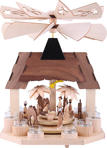 Image For 1-Tier Pyramid - Nativity Scene with Two Counter Rotating Winged Wheels (41cm/16 inch) by Drechslerei Kuhnert