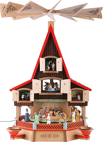 Image For 3-Tier Advent's House Nativity and Windows (62cm/24 inch) by Richard Glässer