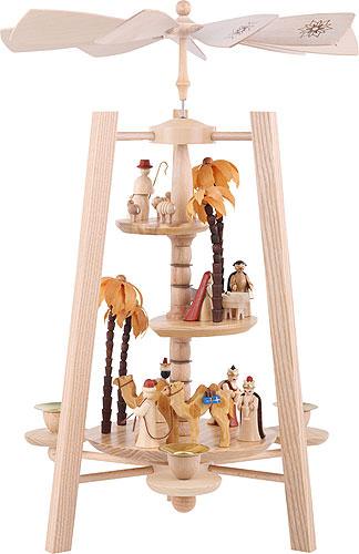 3 Tier Pyramid Nativity Scene Natural Wood 40 Cm 16in