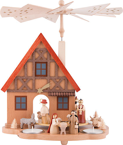 Christmas Lights Shop Charnock Richard: 1-Tier Table Pyramid House Nativity (29 Cm/11.4in) By