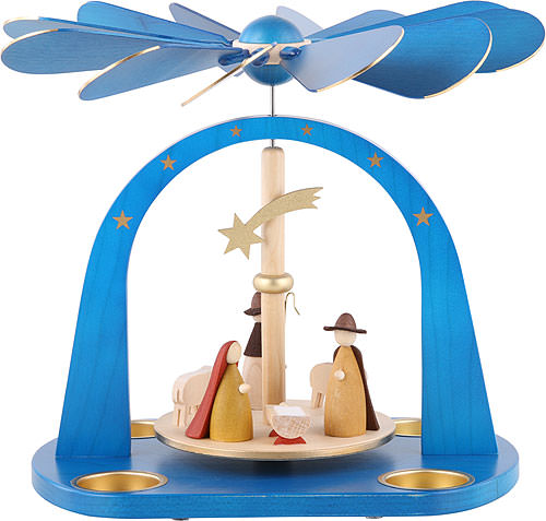 Image For 1-Tier Pyramid - Nativity Scene, Blue (24cm/9.4 inch) by Richard Glässer