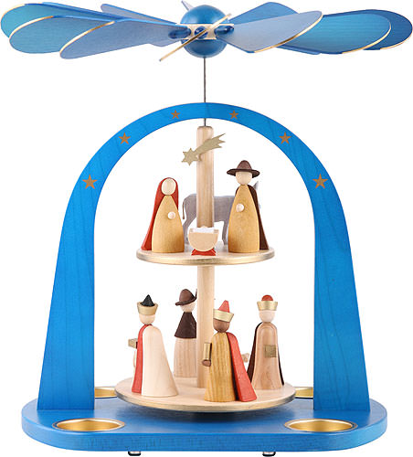 Image For 2-Tier Pyramid - Nativity Scene, Blue (29cm/11.4 inch) by Richard Glässer