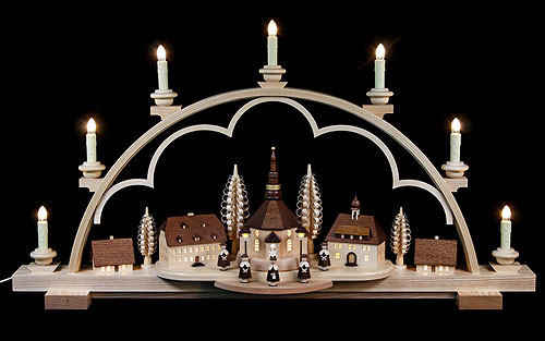Image For Candle Arch - Seiffen Village Natural Wood, 120V (80x15x43cm/31.5x6x17 inch) by Müller Kleinkunst