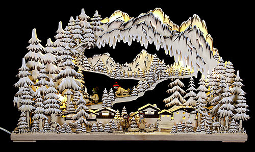 Image For 3D Candle Arch - Winter Sports Brown with White Frost (72x43cm/28x17 inch) by RATAGS Holzdesign