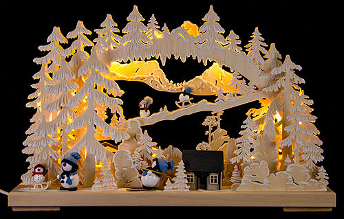 Image For 3D Candle Arch - Happy Snowman (43x30cm/17x15 inch) by RATAGS Holzdesign