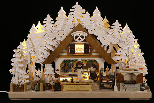 Image For 3D Candle Arch - Molli's Christmas Bakery with White Frost (43x30cm/17x12 inch) by RATAGS Holzdesign