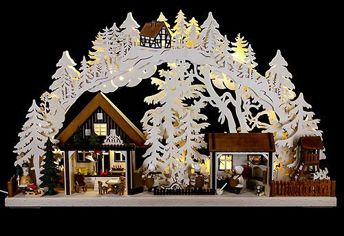 Image For 3D Candle Arch - Christmas Bakery with Walki Figures (72x43cm/28x17 inch) by RATAGS Holzdesign