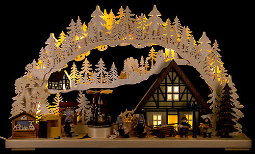 Image For 3D Candle Arch - 'Setting Up the Christmas Market' (72x43cm/28x17 inch) by RATAGS Holzdesign