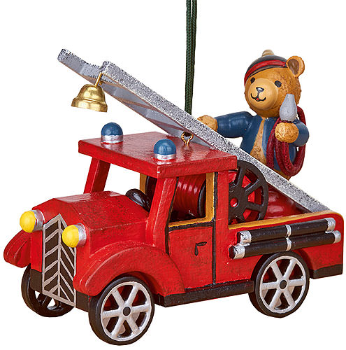 Image For Tree Ornament - Fire Truck with Teddy (8cm/3 inch) by Hubrig Volkskunst