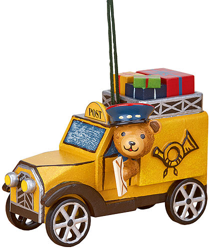 Image For Tree Ornament - Post Truck with Teddy (8cm/3 inch) by Hubrig Volkskunst