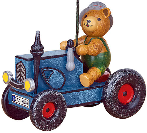 Image For Tree Ornament - Tractor with Teddy (8cm/3 inch) by Hubrig Volkskunst