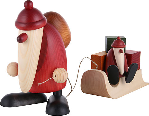 santa claus with a child on a sleigh 19 cm by bj rn k hler kunsthandwerk. Black Bedroom Furniture Sets. Home Design Ideas