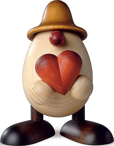 egghead hanno with heart brown 11 cm by bj rn k hler kunsthandwerk. Black Bedroom Furniture Sets. Home Design Ideas
