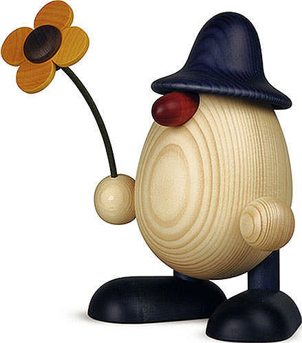 egghead father rudi with flower standing blue 15 cm by bj rn k hler kunsthandwerk. Black Bedroom Furniture Sets. Home Design Ideas