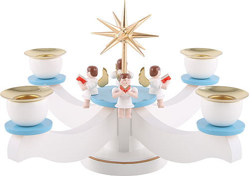 Candle Holder - Advent Blue/White with Sitting Angels (22x 22x 19cm/9x9x7 inch) by Albin Preissler