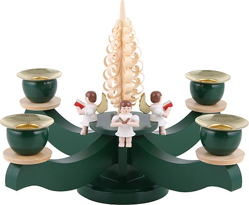 Candle Holder - Advent Four Sitting Angels with Wood Chip Tree (22x19cm/8.7x7.5 inch) by Albin Preissler