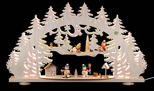 Image For 3D Candle Arch - 'A Snowman's Wonderland' (66x40x8,5cm/26x16x3.3 inch) by Saico Seiffen