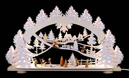 Image For 3D Candle Arch - 'Children in the Snow' (66x40x8,5cm/26x16x3.3 inch) by Saico Seiffen
