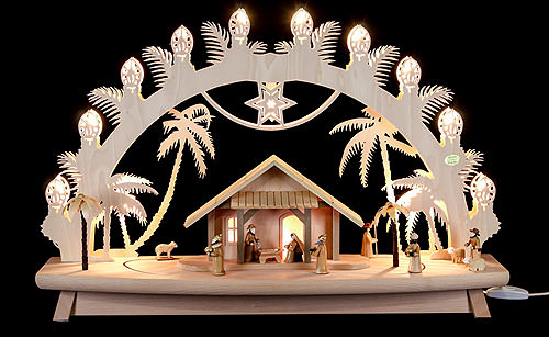 Image For 3D Candle Arch - 'Nativity' with Moving Figures (68x43x16cm/27x17x6 inch) by Saico Seiffen