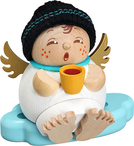 Image For Smoker - Angel with Mulled Wine - Ball Figure (10cm/3.9 inch) by Seiffener Volkskunst