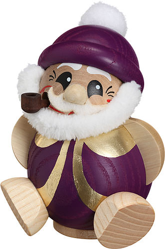 Image For Smoker - Santa Claus Purple-Gold - Ball Figure (11cm/4.3 inch) by Seiffener Volkskunst