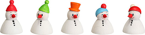 Image For Snowman Teeter Junior, Set of 5 (4cm/1.6 inch) by Seiffener Volkskunst