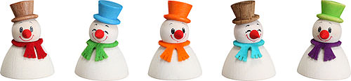 Image For Snowman Teeter Classic, Set of 5 (4cm/1.6 inch) by Seiffener Volkskunst