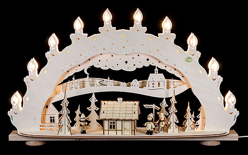 Image For 3D Candle Arch - 'Ski Lodge - Smoker House' (66x40x11,5cm/26x16x5 inch) by Saico Seiffen