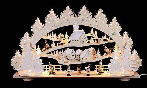 Image For 3D Candle Arch - 'Children in the Winter Village' (66x40x11,5cm/26x16x5 inch) by Saico Seiffen