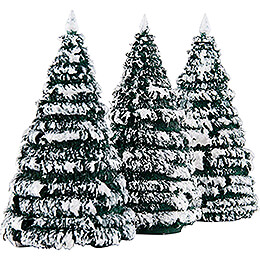 Frosted Trees - Green-White - 3 pieces - 8 cm / 3.1 inch