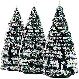 Frosted Trees - Green-White - 3 pieces - 12 cm / 4.7 inch