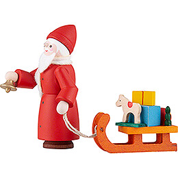 Thiel Figurine - Santa Claus with Sled - coloured - 6 cm / 2.4 inch