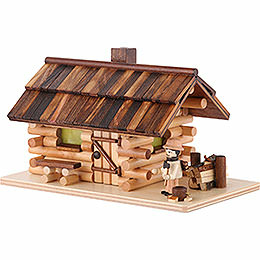Smoking Hut - Forest Hut with Wood Worker - 10 cm / 4 inch