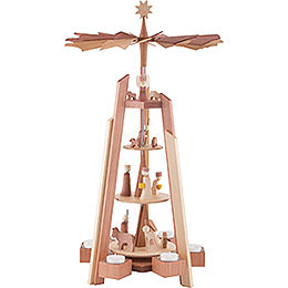 4-Tier Pyramid - for Teacandles with Nativity Scene. Rosewood - 60 cm / 23.62 inch