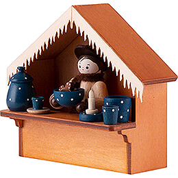 Christmas Market Stall Blue Pottery with Thiel Figurine - 8 cm / 3.1 inch