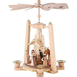 1-Tier Pyramid - Nativity Scene - Natural Wood - 29 cm / 11 inch