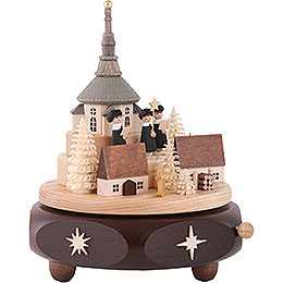 Music Box Seiffen Village with Carolers - 17 cm / 7 inch