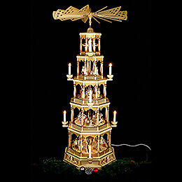 5-Tier Pyramid - Nativity Scene - Natural Wood - 123 cm / 48 inch