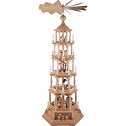 5-Tier Pyramid - Nativity Scene - Natural Wood - 140 cm / 55 inch