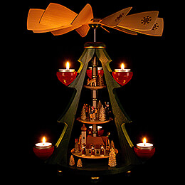 3-Tier Pyramid Tree - Village with Church - 40 cm / 15.7 inch