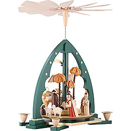 1-Tier Pyramid - Nativity Scene Green - 40 cm / 16 inch