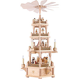 4-Tier Pyramid - Nativity Scene Natural Wood - 59 cm / 23 inch
