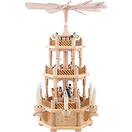 3-Tier Pyramid - Nativity Scene Natural Wood - 45 cm / 18 inch