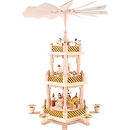 3-Tier Pyramid - Nativity Scene Natural Wood - 40 cm / 16 inch