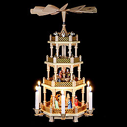 4-Tier Pyramid - Nativity Scene Painted - 54 cm / 21 inch