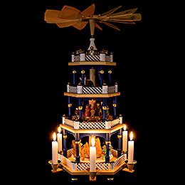4-Tier Pyramid - Nativity Scene Blue - 54 cm / 21 inch