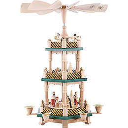 3-Tier Pyramid - Nativity Scene - Christmas Green/Natural Wood - 40 cm / 16 inch